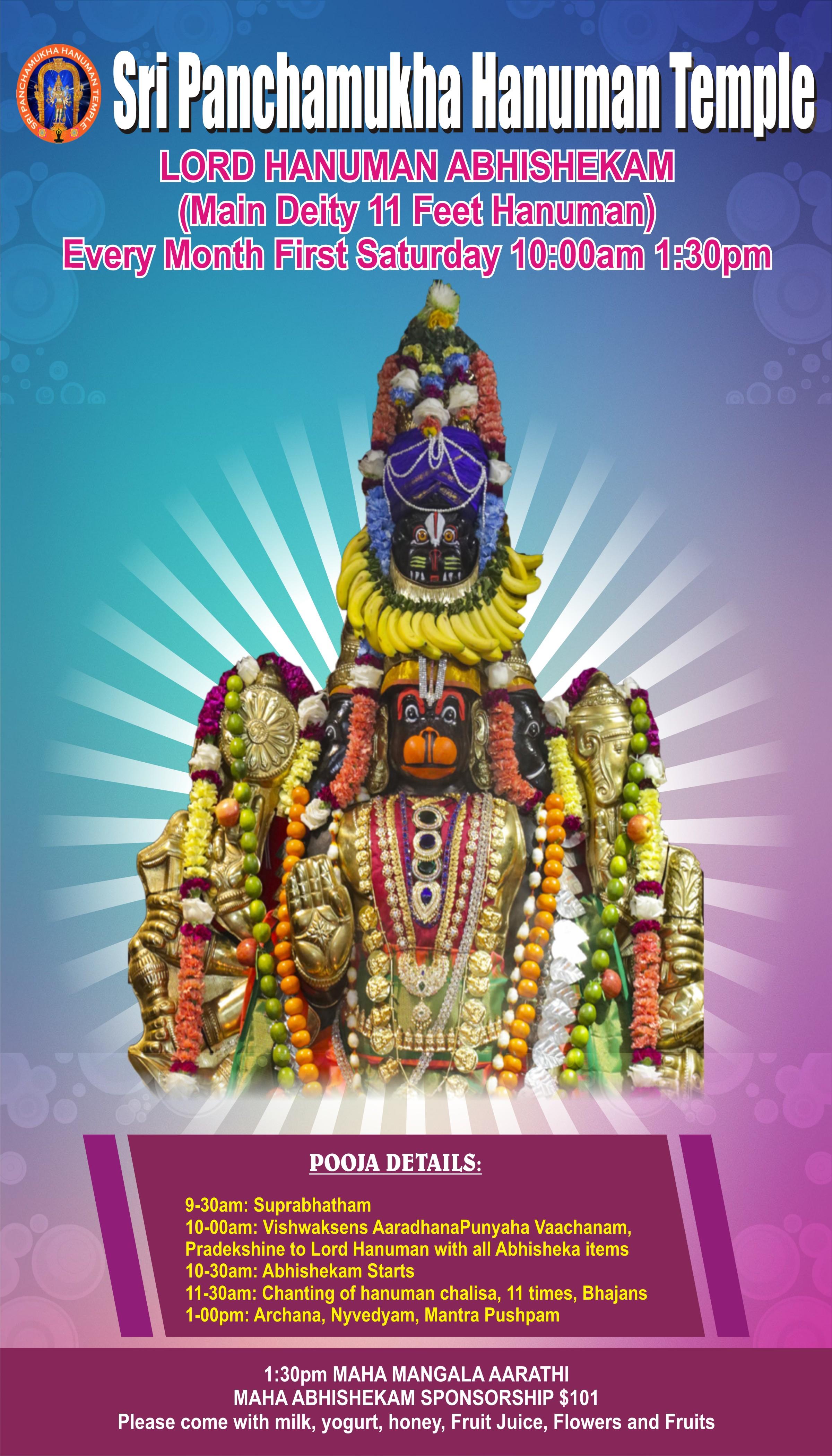 Sri Hanuman Abhishekham - Sri Panchamukha Hanuman Temple And