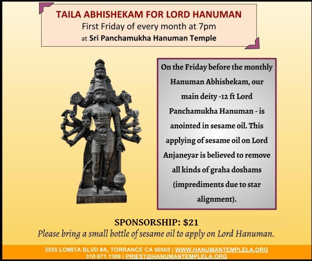 Regular Poojas - Sri Panchamukha Hanuman Temple And Religious Academy