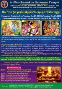 One Year Sri Sundarakanda Parayan & Maha Yagna @ Sri Panchamukha Hanuman Temple | Torrance | California | United States
