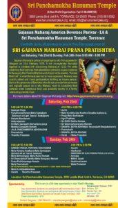 Sri Gajanan Maharaj Prana Pratishtha @ Sri Panchamukha Hanuman Temple | Torrance | California | United States