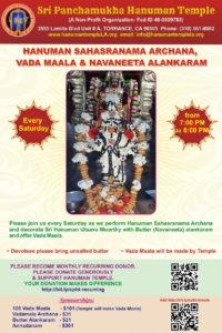 Hanuman Sahasranama Archana Vada mala and Navaneeta alankaram @ Sri Panchamukha Hanuman Temple | Torrance | California | United States