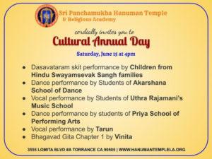 Cultural Annual Day @ Sri Panchamukha Hanuman Temple