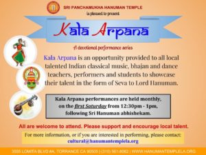Kala Arpana - Every First Saturday after Hanuman Abhishekam @ Sri Panchamukha Hanuman Temple | Torrance | California | United States