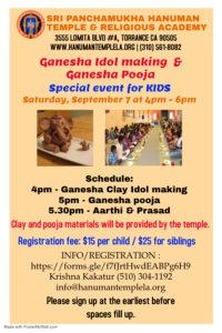 Ganesha Idol Making & Pooja @ Sri Panchamukha Hanuman Temple