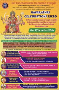 Navarathri Celebrations 2020 @ Sri Panchamukha Hanuman Temple