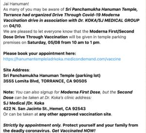 Drive Through Covid-19 Moderna Vaccination drive @ Sri Panchamukha Hanuman Temple